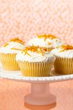 Orange Cupcakes. Comport of cupcakes decorated with butter cream and orange zest Royalty Free Stock Photography