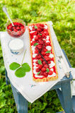 Orange Curd Tart with Vanilla Strawberries Royalty Free Stock Images