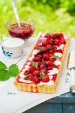 Orange Curd Tart with Vanilla Strawberries Stock Images