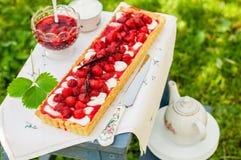 Orange Curd Tart with Vanilla Strawberries Stock Image