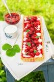 Orange Curd Tart with Vanilla Strawberries Stock Photography