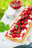 Orange Curd Tart with Vanilla Strawberries Royalty Free Stock Photos