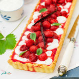 Orange Curd Tart with Vanilla Strawberries Royalty Free Stock Image