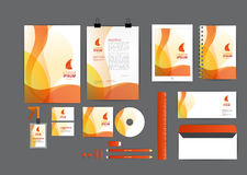 Orange with curve graphic corporate identity template Royalty Free Stock Photos