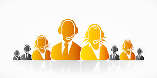 Orange customer service. People group abstract silhouettes Stock Photo