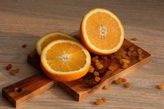 The orange cut on a Board Royalty Free Stock Photos