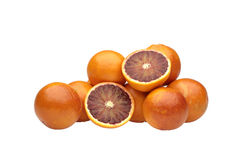 Orange cut in half on white background Royalty Free Stock Photography