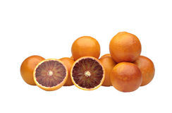 Orange cut in half on white background Royalty Free Stock Image
