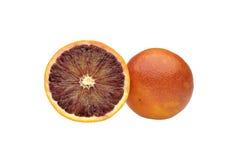 Orange cut in half on white background Royalty Free Stock Photo
