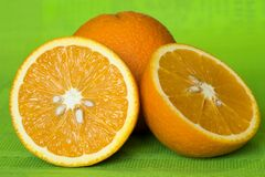 Free Orange Cut Into Two Parts On A Green Background Royalty Free Stock Photography - 178377947