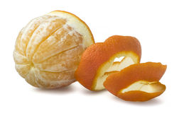 Orange with cut peel Royalty Free Stock Images