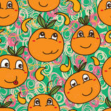 Orange cute cartoon seamless pattern Royalty Free Stock Photo