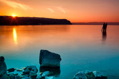 Orange Cyan Sunset Royalty Free Stock Photography
