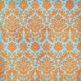 Orange d'été et fond fous de damassé de sarcelle d'hiver Photos stock