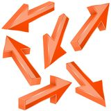 Orange 3d arrows. Set of shiny straight signs. Vector illustration isolated on white background stock illustration
