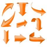 Orange 3d arrows. Shiny icons. Vector illustration isolated on white background Royalty Free Stock Image
