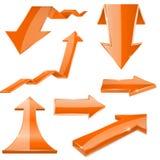 Orange 3d arrows. Shiny icons. Vector illustration isolated on white background Royalty Free Stock Images