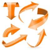 Orange 3d arrows. Shiny icons. Vector illustration isolated on white background Stock Photos