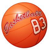 Orange 3D basketball sports equipment with Basketball print.  Royalty Free Stock Image