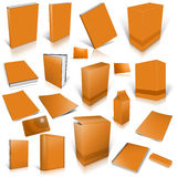 Orange 3d blank cover collection. Isolated on white Stock Image