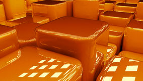 Orange 3D blocks. Conceptual 3D illustration of orange blocks like steps or stairs Royalty Free Stock Photos