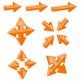Orange 3d combo arrows. Different directions. Vector illustration isolated on white background Royalty Free Stock Images