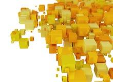 Orange 3D Cubes Background Stock Photo