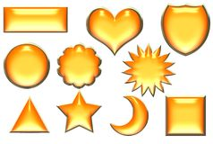 orange d'or de boutons de cadres illustration de vecteur