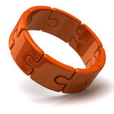 Orange 3d puzzle ring Royalty Free Stock Photos