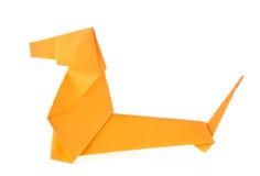 Orange Dachshund dog of origami Stock Photos