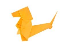 Orange Dachshund dog of origami. Royalty Free Stock Photos