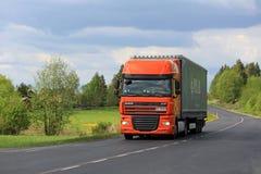 Orange DAF Semi Truck Transport at Spring stock images