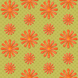 Orange daisy seamless background on green Royalty Free Stock Image