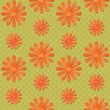 Orange daisy seamless background on green. Seamless background graphic with orange daisies on green background Royalty Free Stock Image