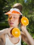 Orange dam Fotografering för Bildbyråer