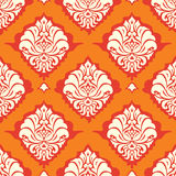 Orange damask wallpaper. Seamless damask wallpaper ornament flowers in orange vector illustration