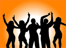 Orange Dancers. A group of dancers in silhouette in front of an orange background with a white light in the centre. The additional format is saved as an EPS Stock Image