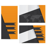 Orange dark flat design folded brochure Royalty Free Stock Photo