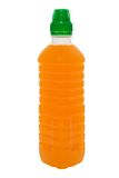 orange de jus de bouteille Photographie stock libre de droits
