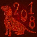 Orange decorative  dog with numbers 2018. Stock Image