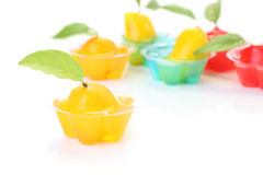 Orange deletable imitation fruits in jelly cup Royalty Free Stock Photography