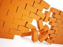 Orange demolition brick wall Royalty Free Stock Image