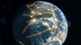 Orange des globalen Geschäfts und des Kommunikationsnetzes lizenzfreie abbildung