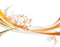 Orange design. Orange background with floral design Stock Photos