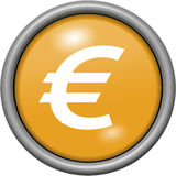 Orange design euros in round 3D button Royalty Free Stock Photo