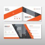 Orange design för mall för årsrapport för broschyrbroschyrreklamblad, bokomslagorienteringsdesign, abstrakt affärspresentationsma Arkivfoto