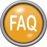 Orange design FAQ in round 3D button Stock Photo