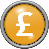 Orange design livre sterling in round 3D button Royalty Free Stock Image