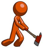 Orange Design Mascot Man striking with a red firefighter`s ax. Toon Rendered 3d Illustration Stock Photos