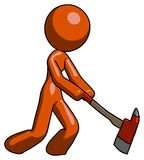 Orange Design Mascot Woman striking with a red firefighter`s ax. Toon Rendered 3d Illustration Royalty Free Stock Image